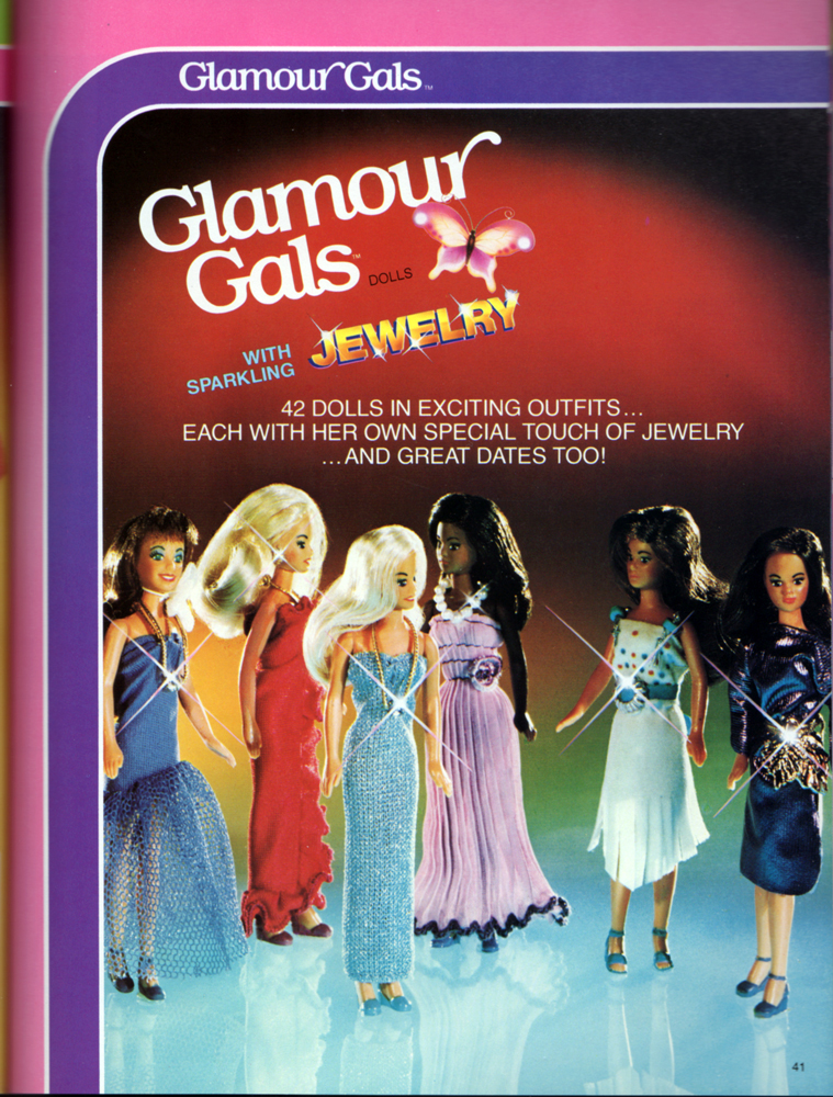 Glamour Gals, poseable fashion dolls assortment from Kenner Products, 1983