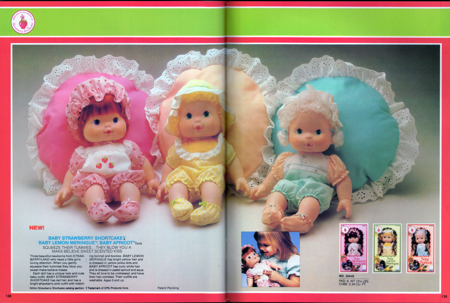 Baby Strawberry Shortcake, Baby Lemon Meringue, and Baby Apricot dolls from Kenner Products, 1982.