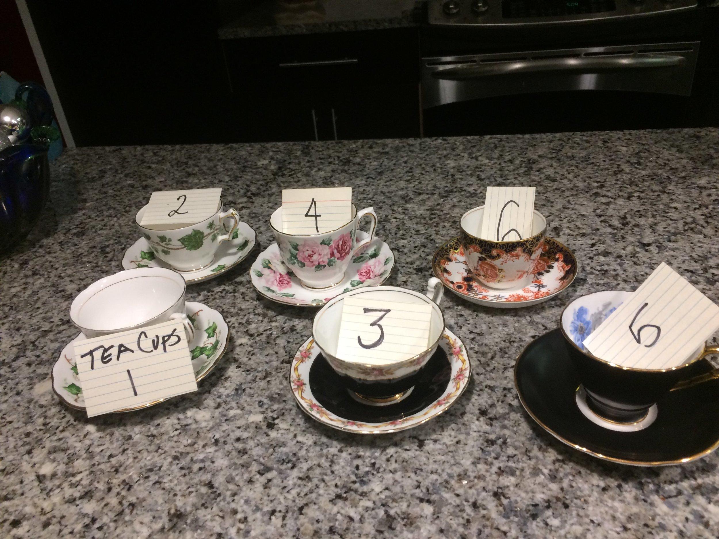 LOT: Tea Cups, 1 through 6.