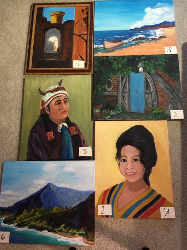 Paintings: Lot A, 1 through 6