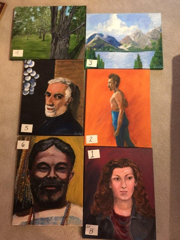 Paintings: Lot B, 1 through 6