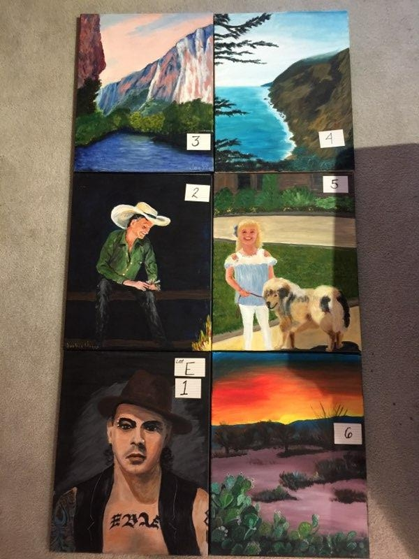 Paintings: Lot E, 1 through 6
