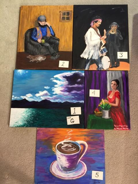 Paintings: Lot G, 1 through 5