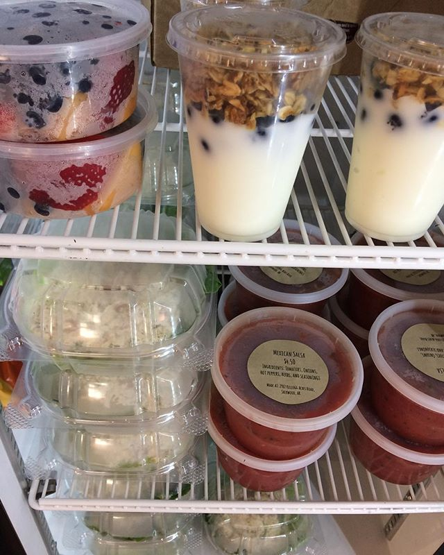 Filling our fridge...one delicious new item at a time.  Fresh Chicken Salad  Fresh Homemade Salsa Fruit Cups Parfaits with House-Made Granola  We're open until 12pm and hope you can stop by today or tomorrow!