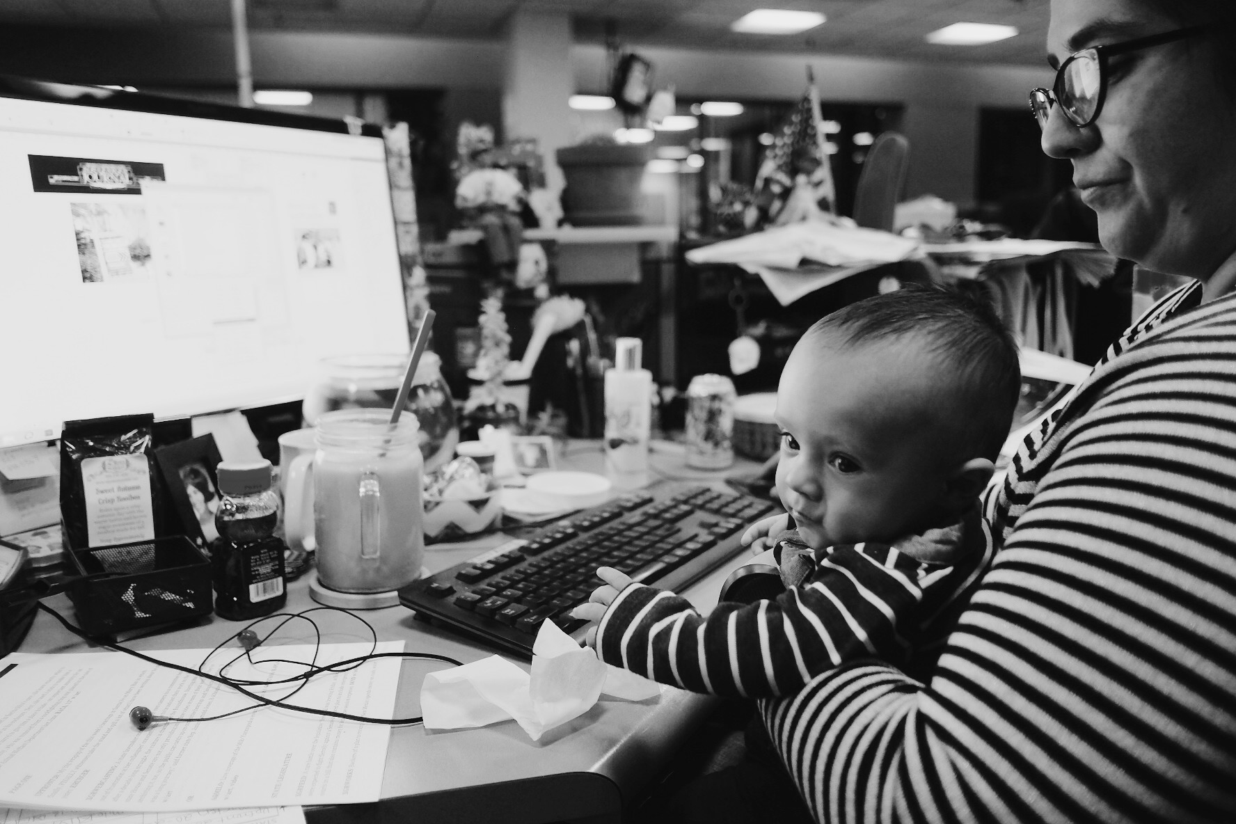 Four-month-old Moby Hjelm helps Beth Trujillo lay out A1 on Friday, Jan. 27, 2017, on his mother's last day the Albuquerque Journal.