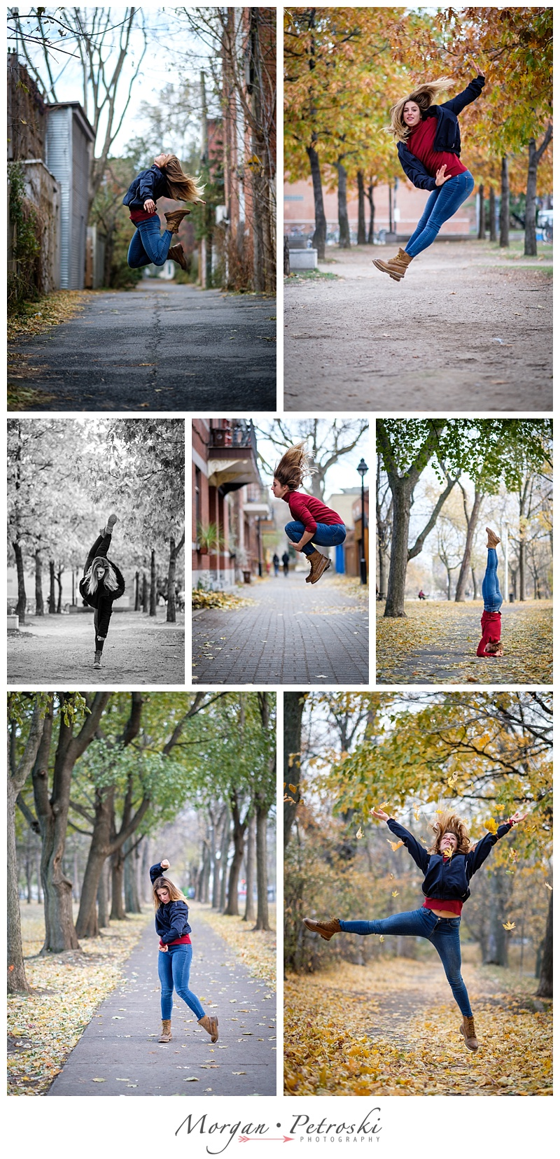 Woman dancing in leaves in Le Plateau and Parc La Fontaine