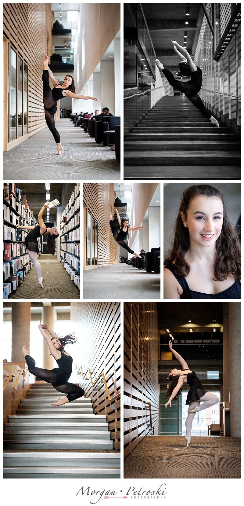 Female dancer in black leotard dancing in public library of Montreal.