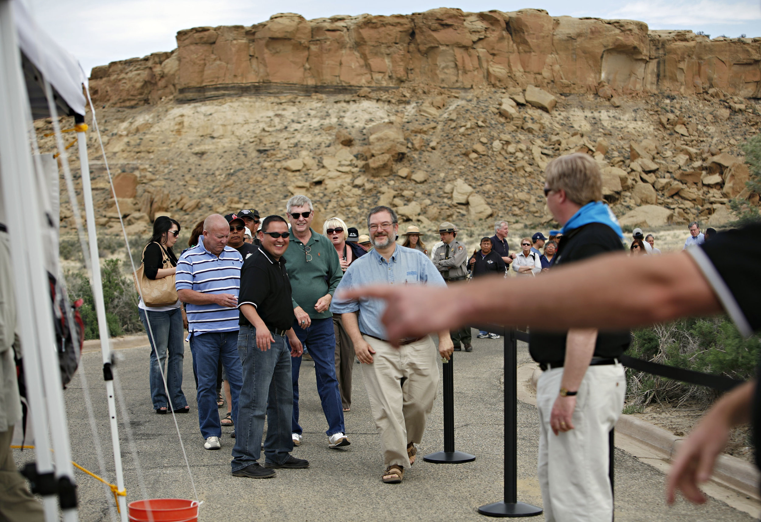 People line up to exchange their money for the new Chaco Canyon quarters during the quarter launch at Chaco Canyon, Thursday, April 26, 2012. (Morgan Petroski/Albuquerque Journal)
