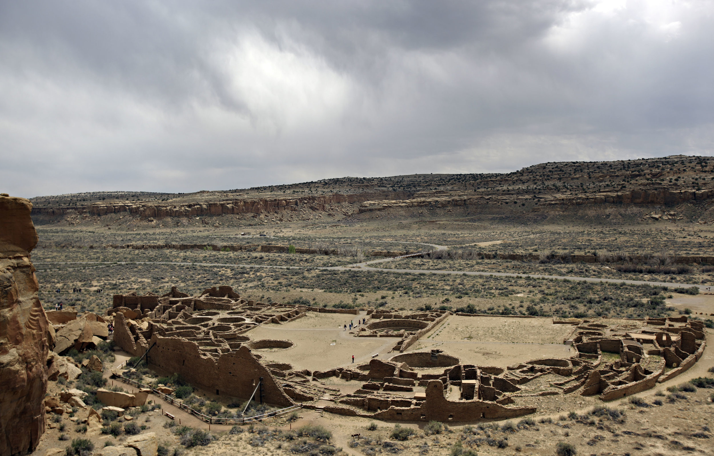 Pueblo Bonito as seen from the overlook at Chaco Canyon, Thursday, April 26, 2012. (Morgan Petroski/Albuquerque Journal)
