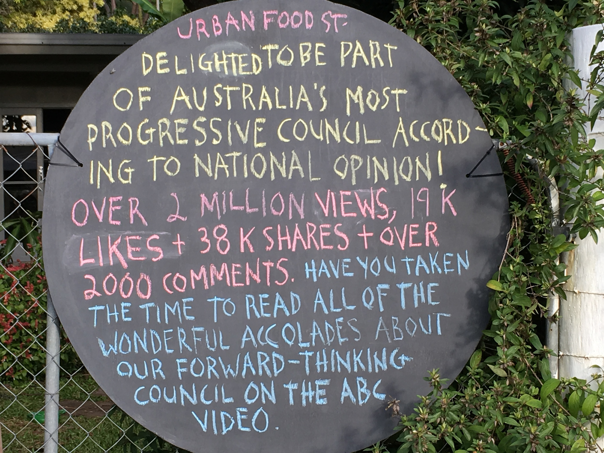 The URBAN FOOD STREET video produced by the ABC received over 2 million views. There were council accolades everywhere.