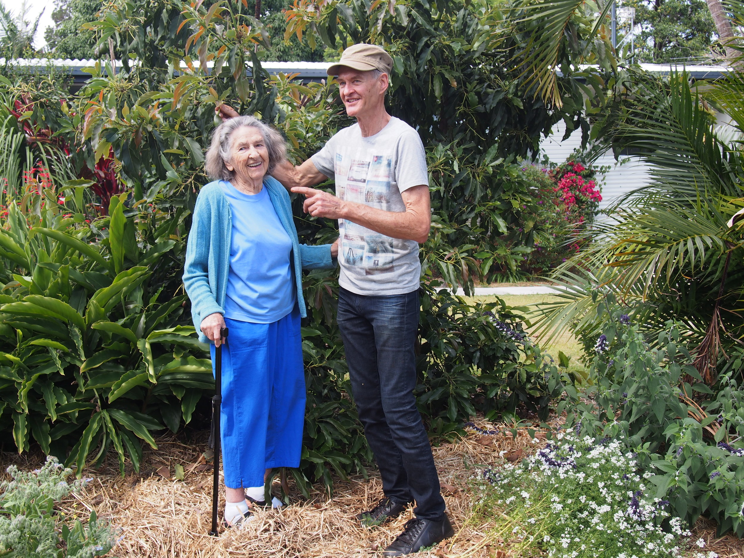 Ninety-something Cindy, talks avocado's with Duncan, grown on the suburban verge in the heart of sprawling suburbia.