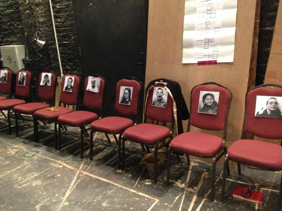 """Here's a peek at our backstage set-up. Everyone needs to find their chair when the Stage Manager calls """"PLACES!"""""""