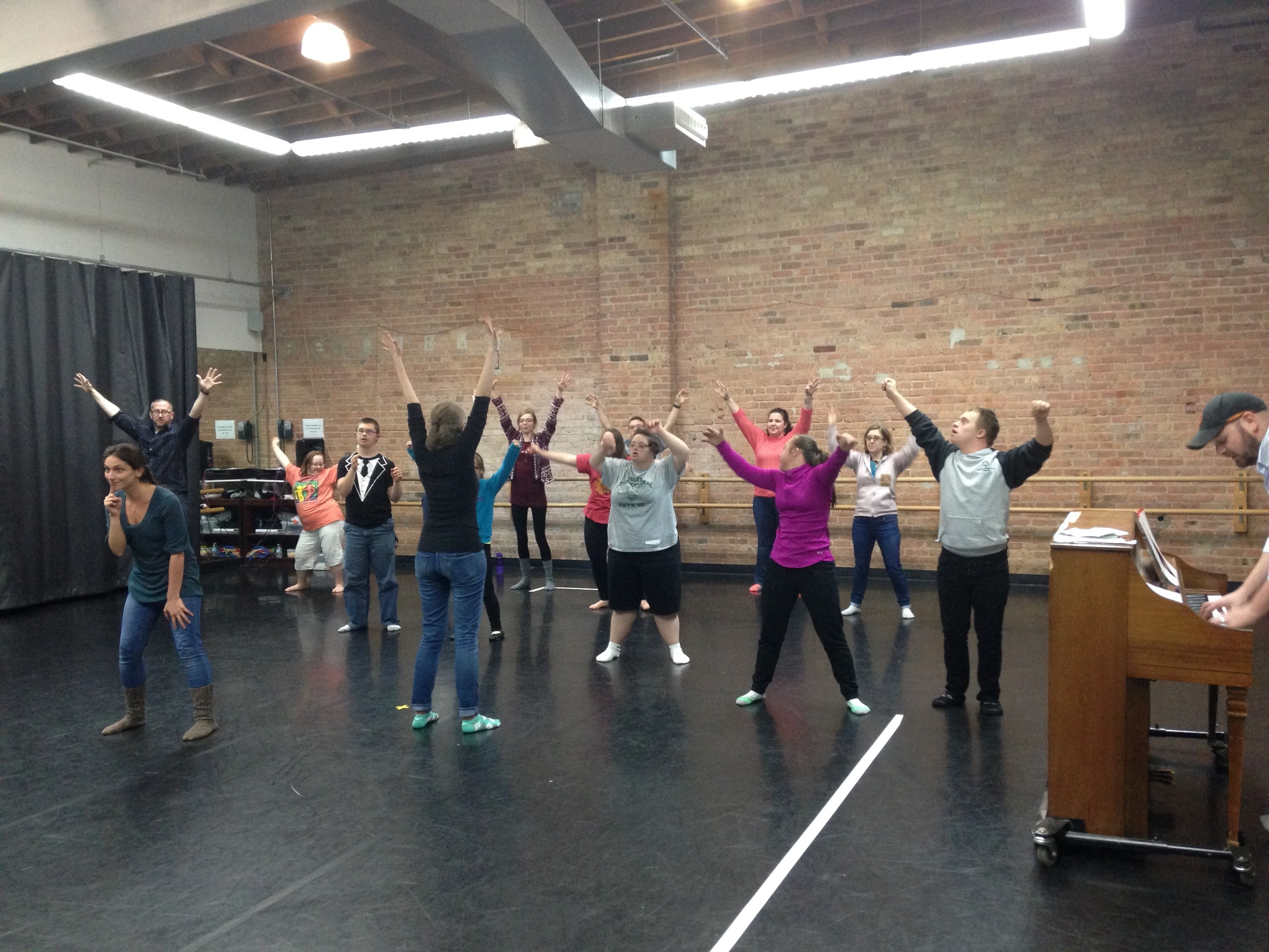 The Lemons singing and dancing their hearts out during Mash-Up practice.