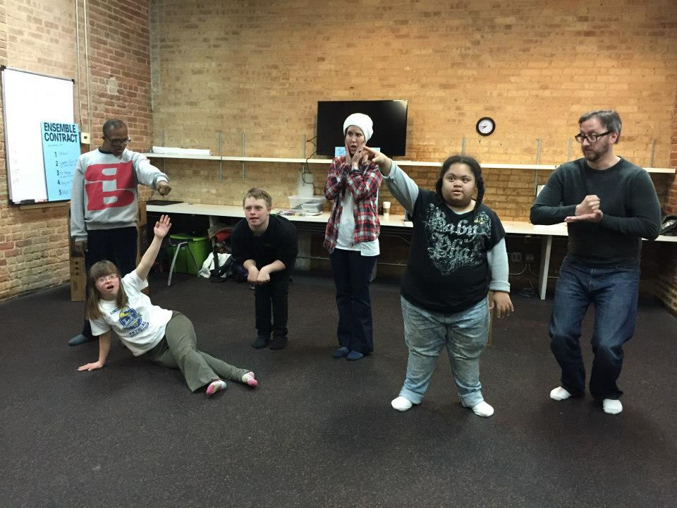 Making a Tableau of the Madhatter's Tea Party during rehearsals for   Adventures in Wonderland  .