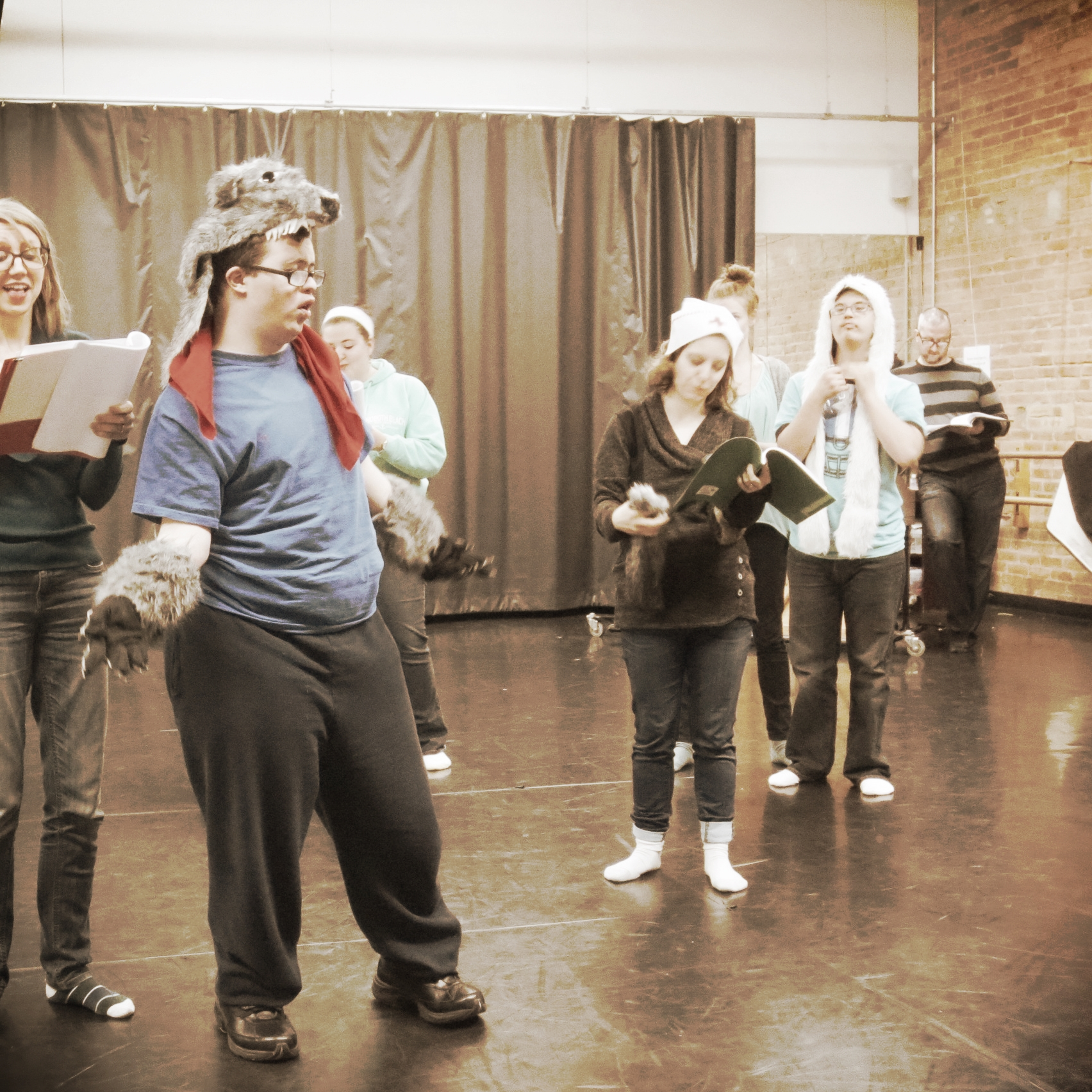 Rehearsing with The Strawberries for their original scene in   What You Will.