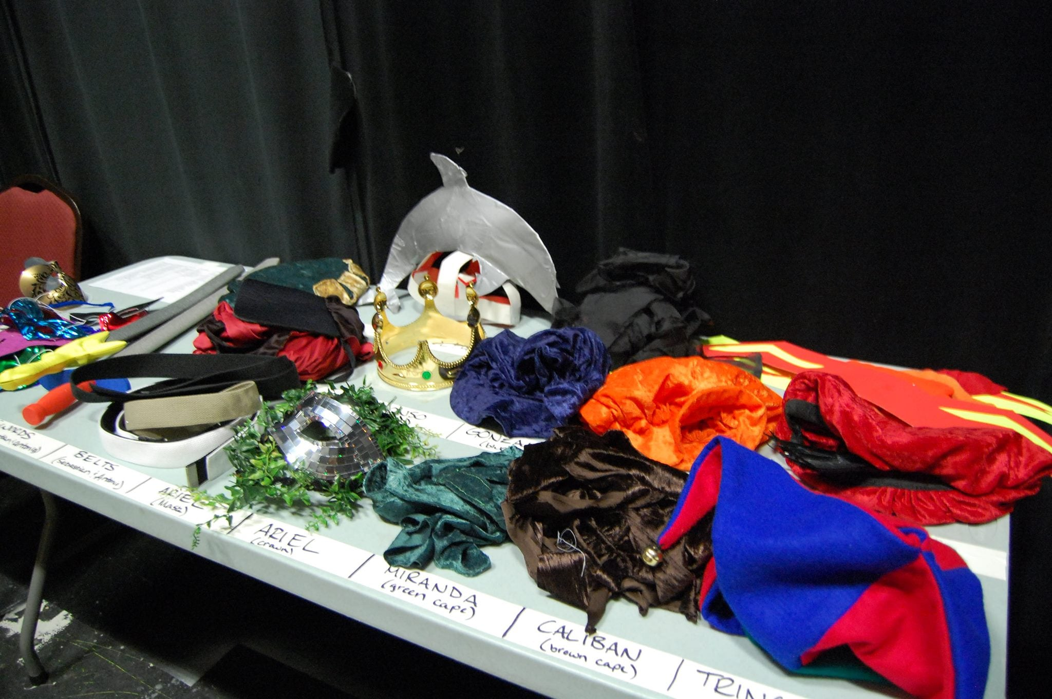 costumes and props backstage and ready for  The Tempest  (2014)