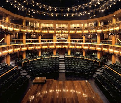 The Courtyard Theater at Chicago Shakespeare has a stage that THRUSTS out into the audience