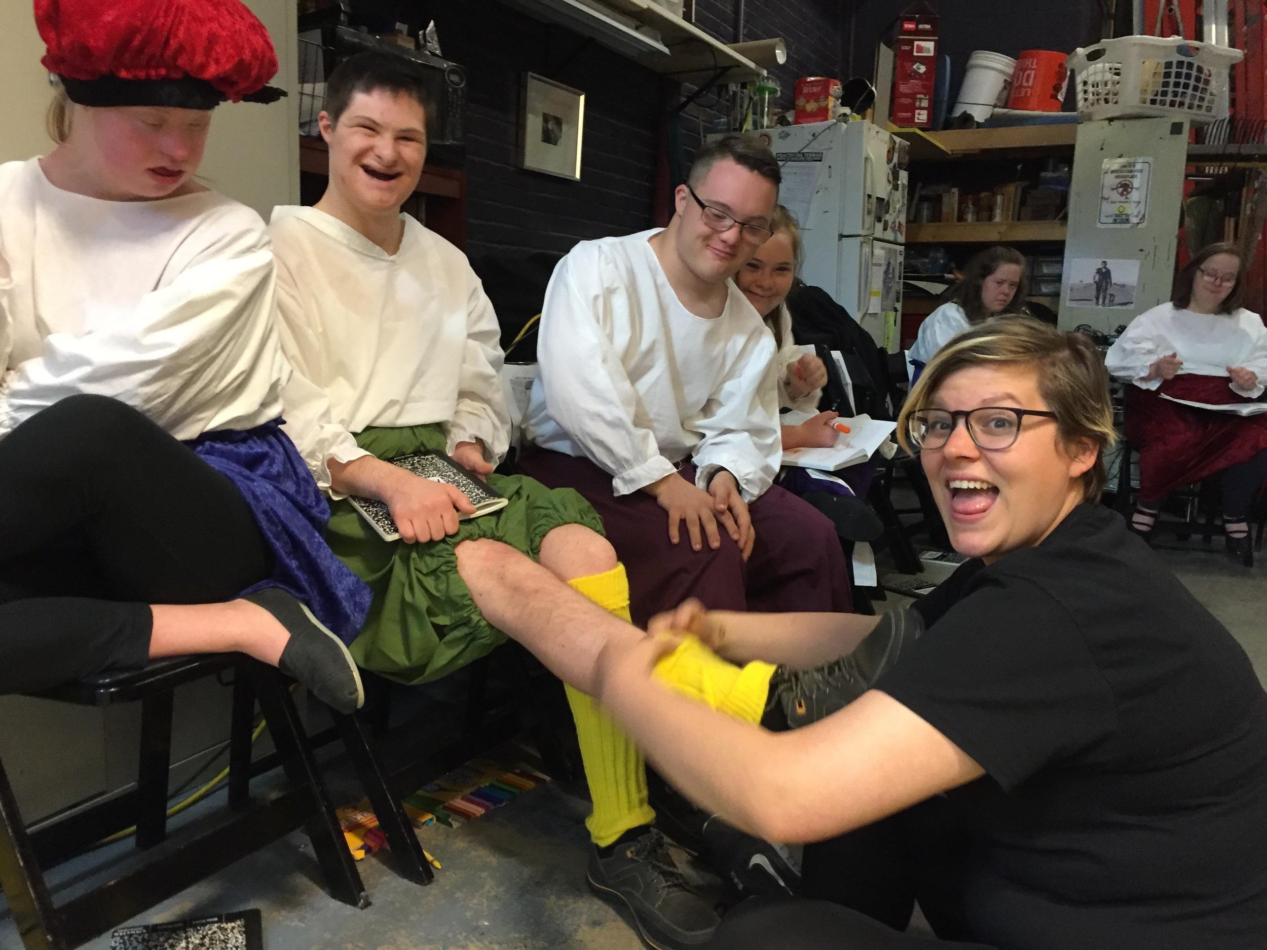 Malvolio putting on his stockings!