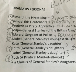 There are 7 main characters plus choruses of pirates, police, and the Major-General's daughters. We'll start our rehearsal process by learning who they all are!