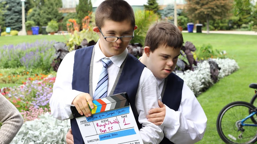 actors Lucas and Jack on location at Lincoln Park Conservatory