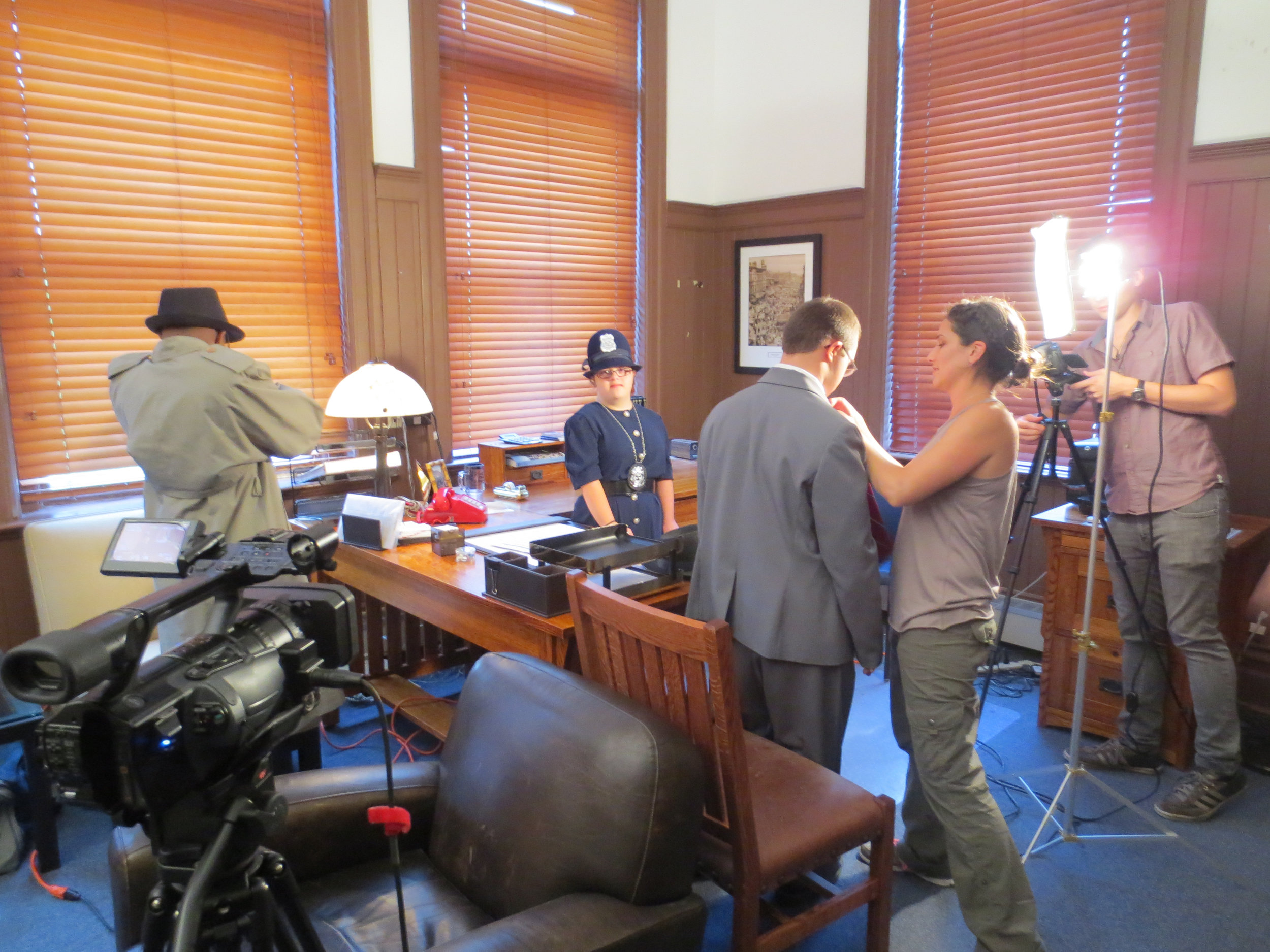 setting up between takes at the Historic Maxwell St. Police Station