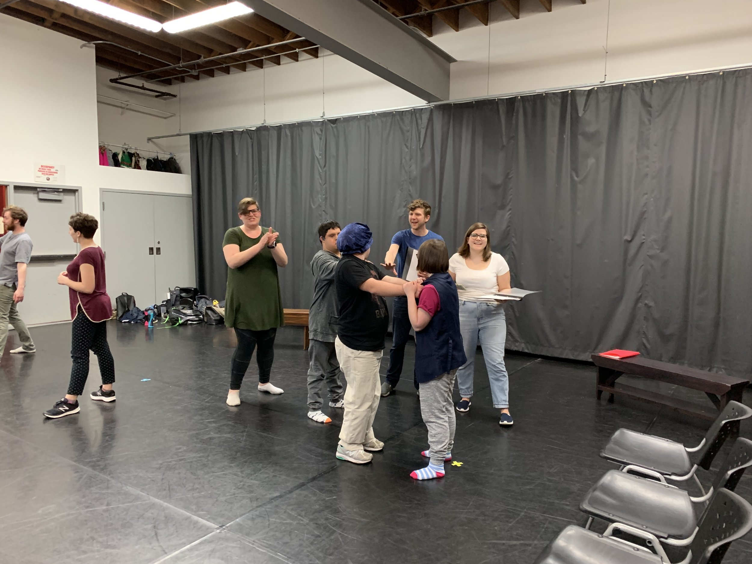 Christian and Anna as the warring DeBoys brothers Orlando and Oliver rehearsing the prologue.