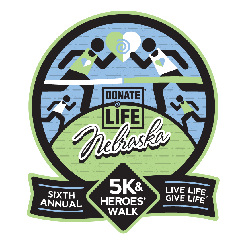 I was commissioned to do the logo/design for the 6th Annual 5k/Heroes' Walk for Donate Life Nebraska!
