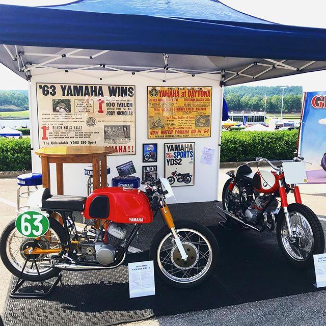 All set up at @barbermotorpark with @yamahamotorusa! Featuring our restored Yamaha #yds1r and Yamaha Ascot Scrambler.