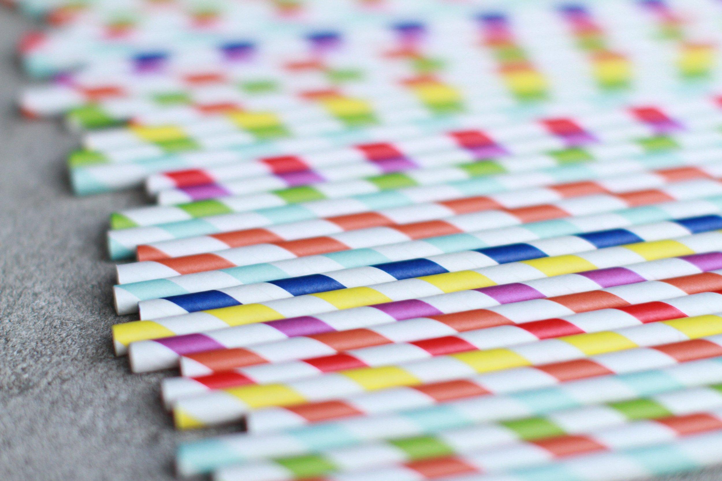 Multi colored paper straws.