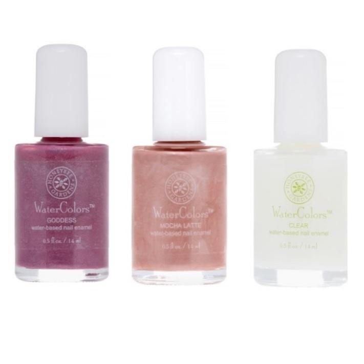 Three bottles of WaterColors nail polish.