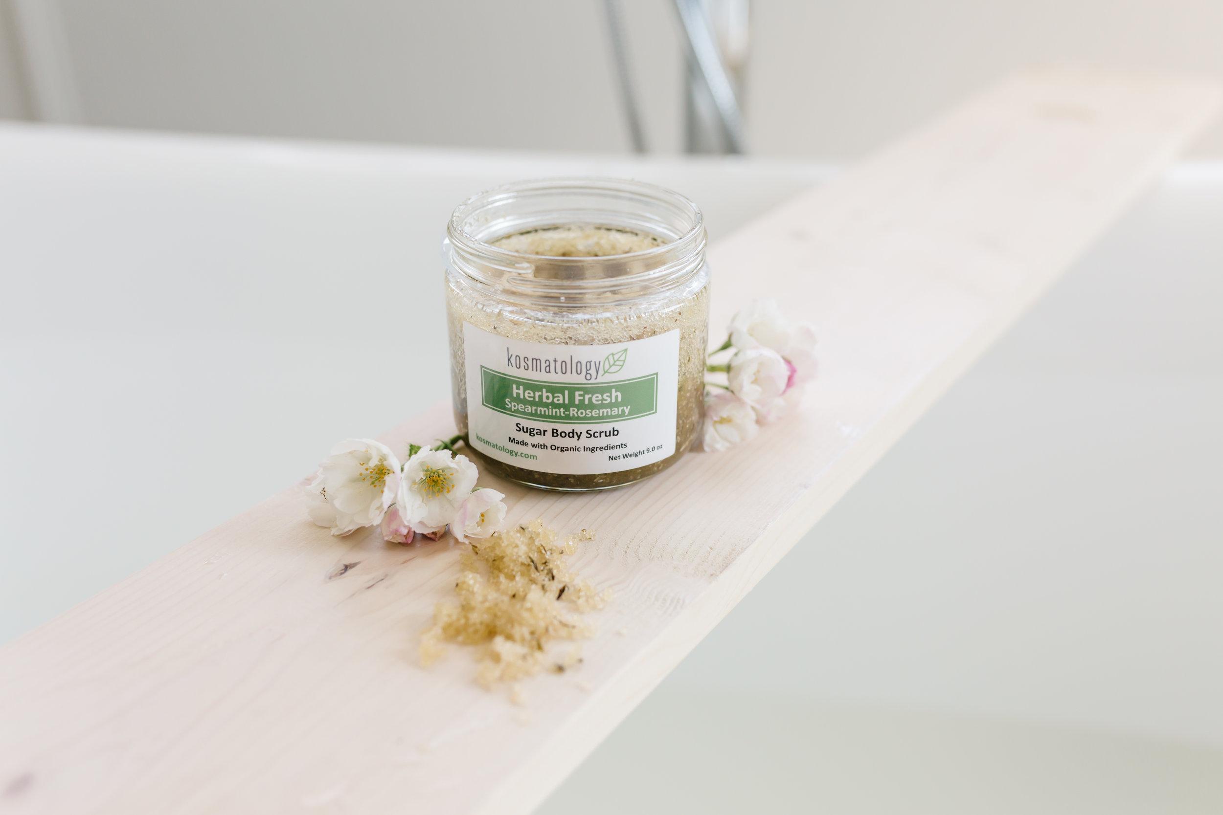 Herbal Fresh Sugar Scrub styled with a bath tub