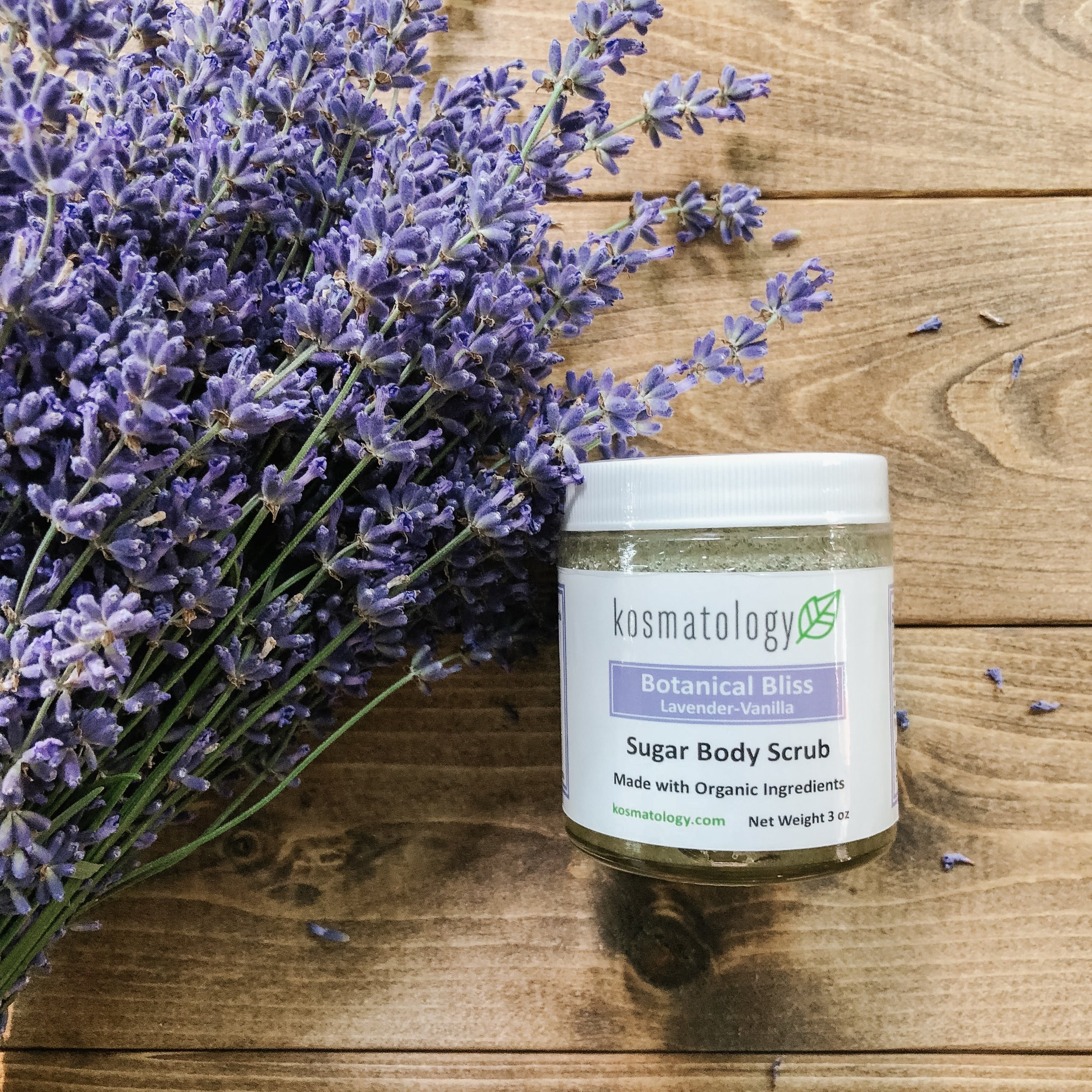 Botanical Bliss Sugar Scrub with lavender flowers