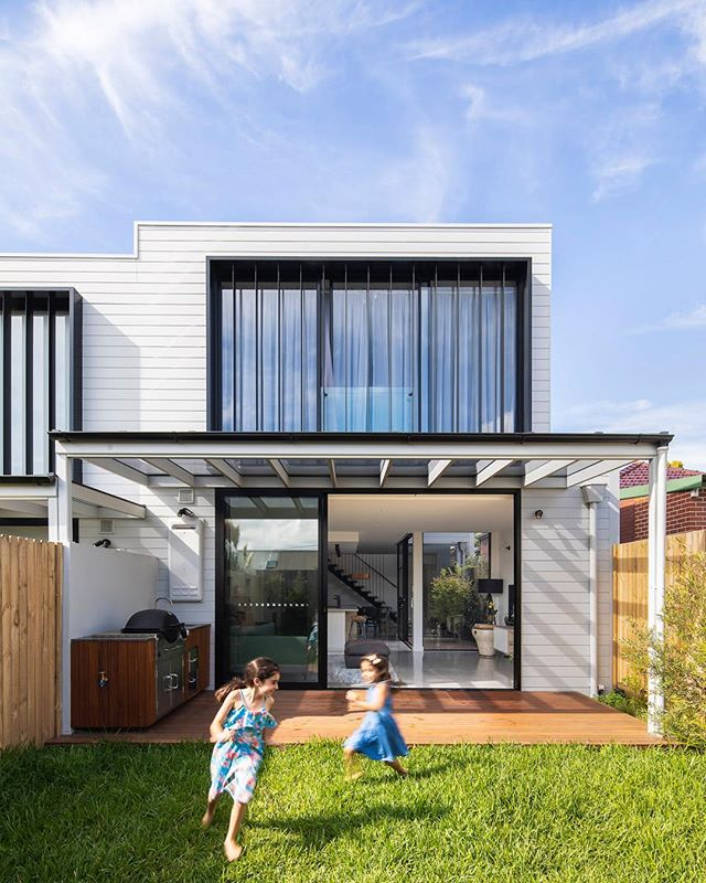 Our newly built terraces with a modern twist in St Peters. My girls wanted to be part of the photo shoot. Definitely don't take after me. Interior images coming soon.  Built and designed by #TrumanBuilding Photo by @evmac_archiphotos  #terracehouse #residentialarchitecture #australianarchitecture #sydneybuilder #archidaily