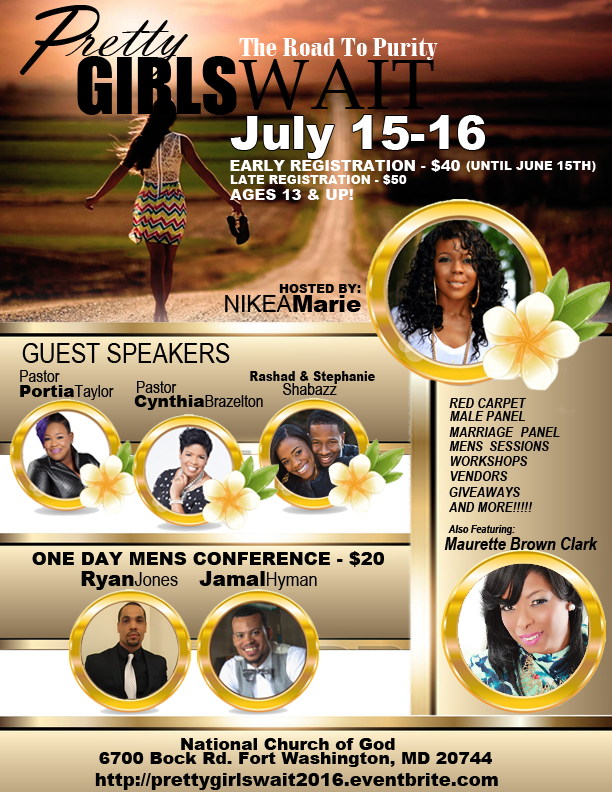 I am receiving an award at the Pretty Girls Wait conference July 15-16. If you're in the DMV area or know ladies ages 13 and up, meet me there!