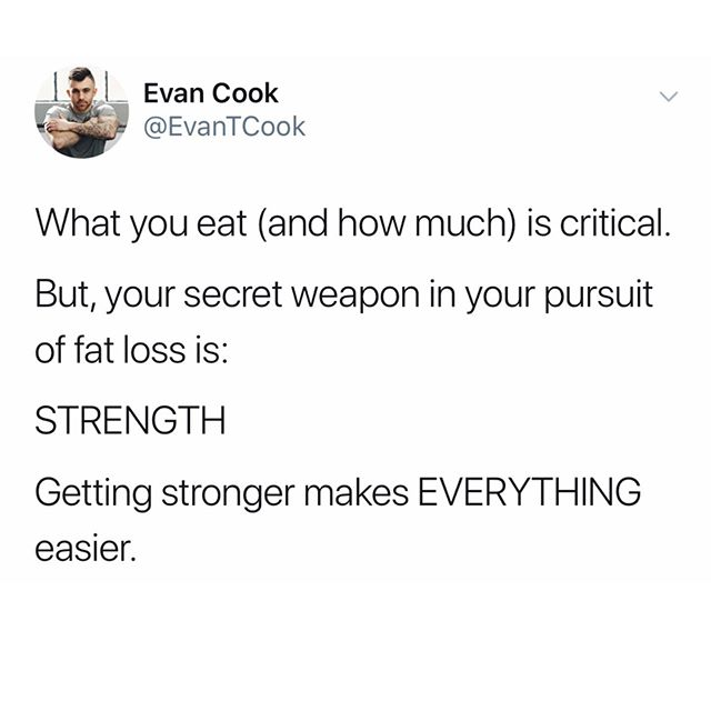 "Stop focusing on ""fat burning foods"" (they aren't real), ""skinny teas"" (they don't work), and unsustainable fad diets (they'll come back to bite you). - Be conscious of what you eat and how much. That's a given. - But from there, put all of your attention on getting stronger in the gym. - I'm not suggesting you become a powerlifter (though it sure does look fun). - Rather, consistently and routinely increase the weight you use the gym. - It'll still take time and patience. But to quote the OG founder of the Men's Warehouse: you're going to like the way you look, I guarantee it😎"