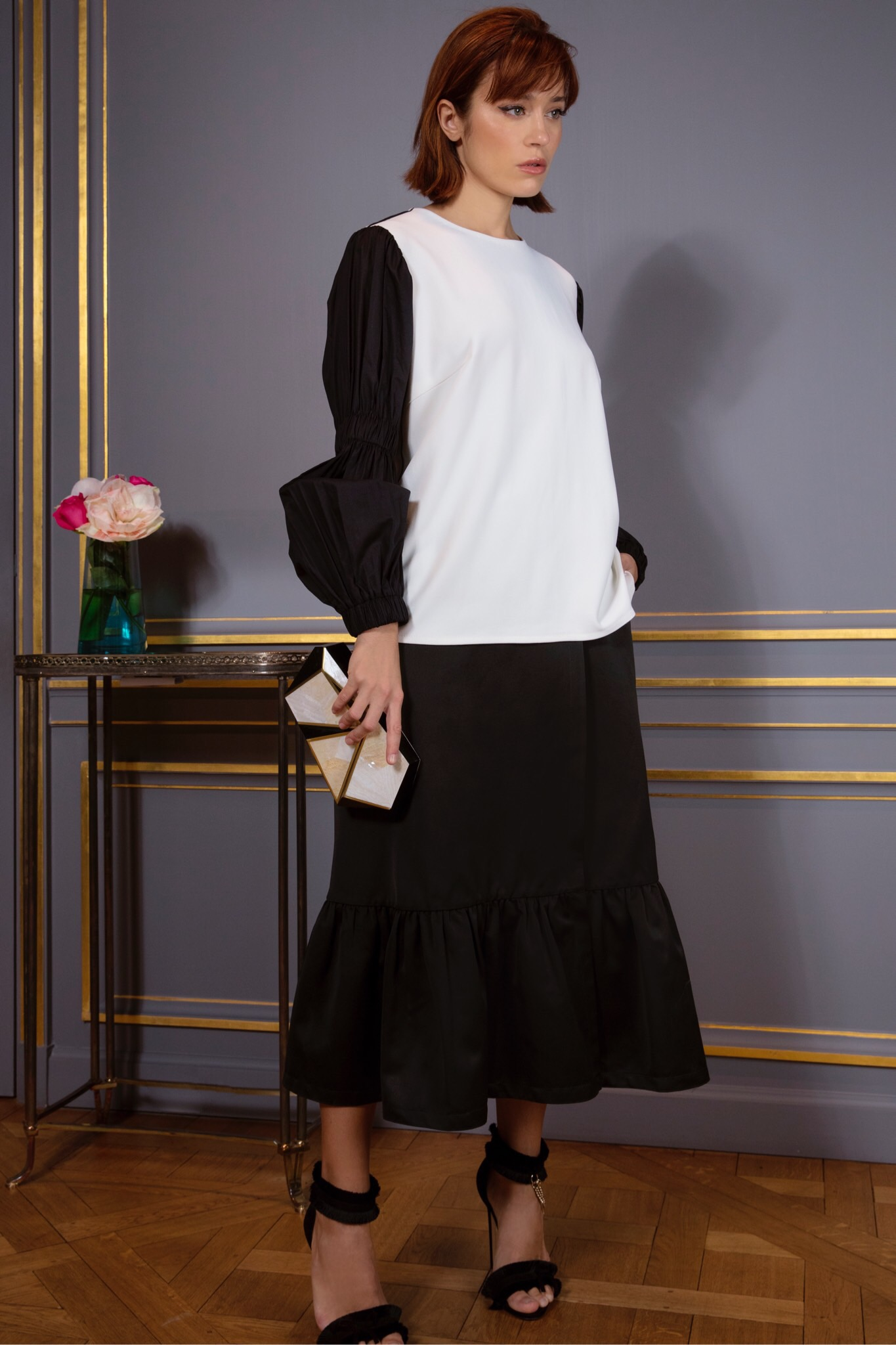 "Top and skirt by Tamuna Ingorkvai with a Rafē ""Azura"" Minaudière."