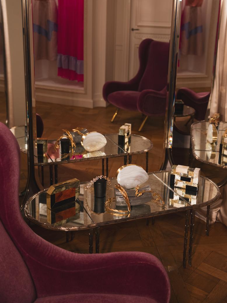 Rafē minaudières on display in one of the private suites on the 2nd floor.