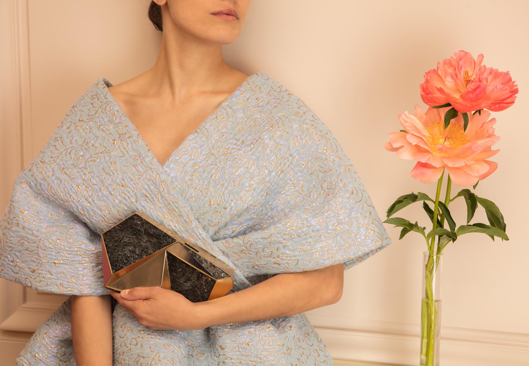 """Rafē """"Azura"""" minaudière paired with a dress by Del Pozo."""