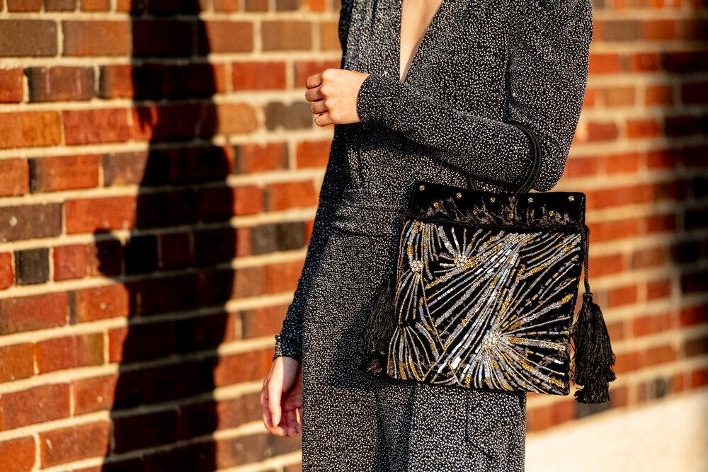 Black and Ecru Beaded Treasure Bag