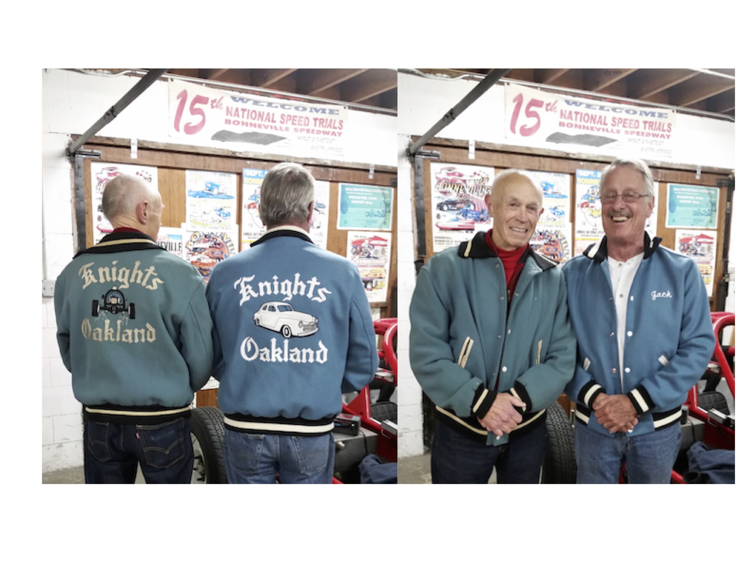 Someone emailed us a few months ago looking to make a very special jacket reproduction for her Father, of an old racing jacket down in the Bay Area. Here are the results and smiles after she gave it to him as a surprise yesterday! His racing partner still sports the original. Cheers Lori! You did a great job and we were happy to help.