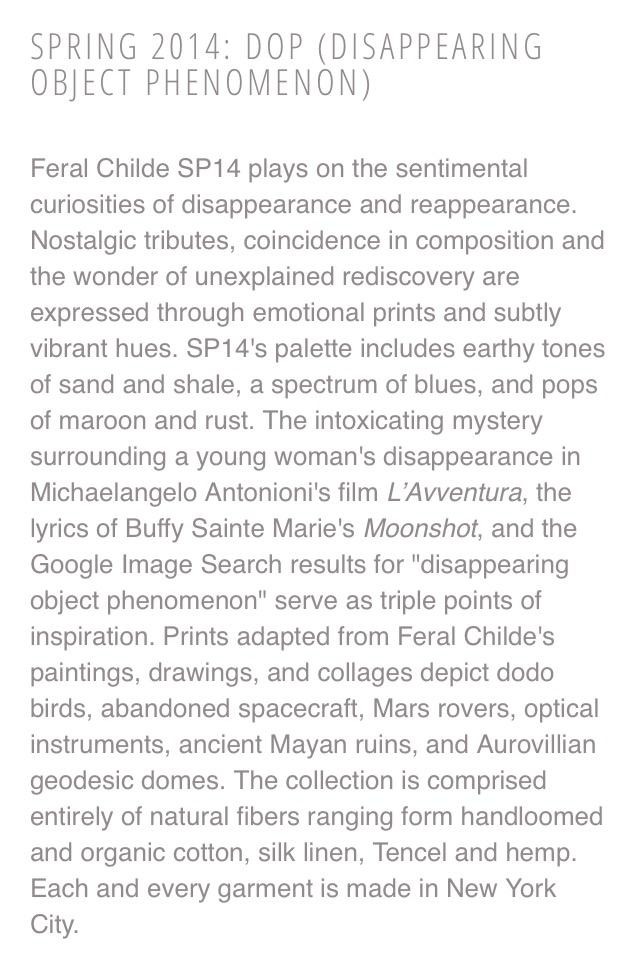 Collection description for Feral Childe.