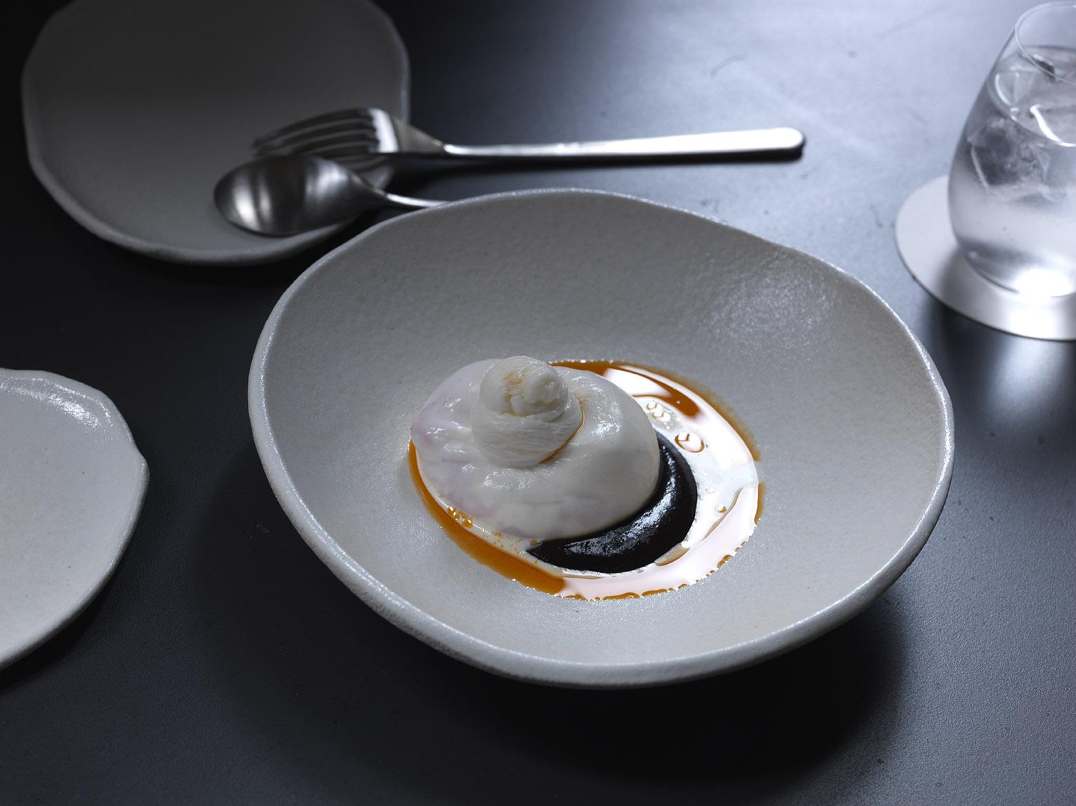 burrata and shellfish oil dish from Automata