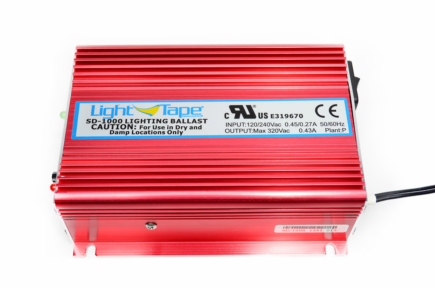 Model SD-1000  Illuminated Area:555-1410 sq. in. Input Current:450-700 mA Input Voltage: 120 or 240 VAC Input Frequency: 50/60 Hz Output Voltage: 200 -300 V Output Frequency:600-900 Hz