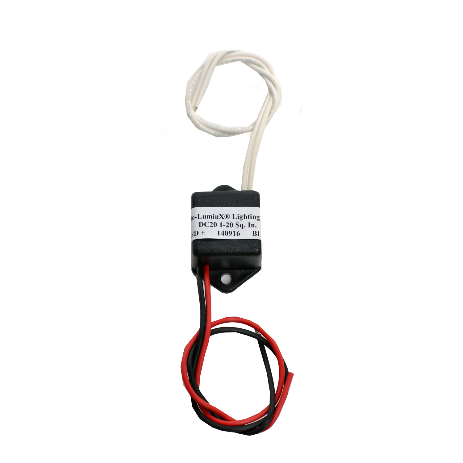 """Model DC-20P  Illuminated Area:1-18 sq. in. Input Current:~88 mA Input Voltage:12 VDC Output Voltage:200-300 VAC Dimensions:1.75"""" x 1.08"""" x 0.79"""" Weight: 0.1 lbs (1.6 oz)"""