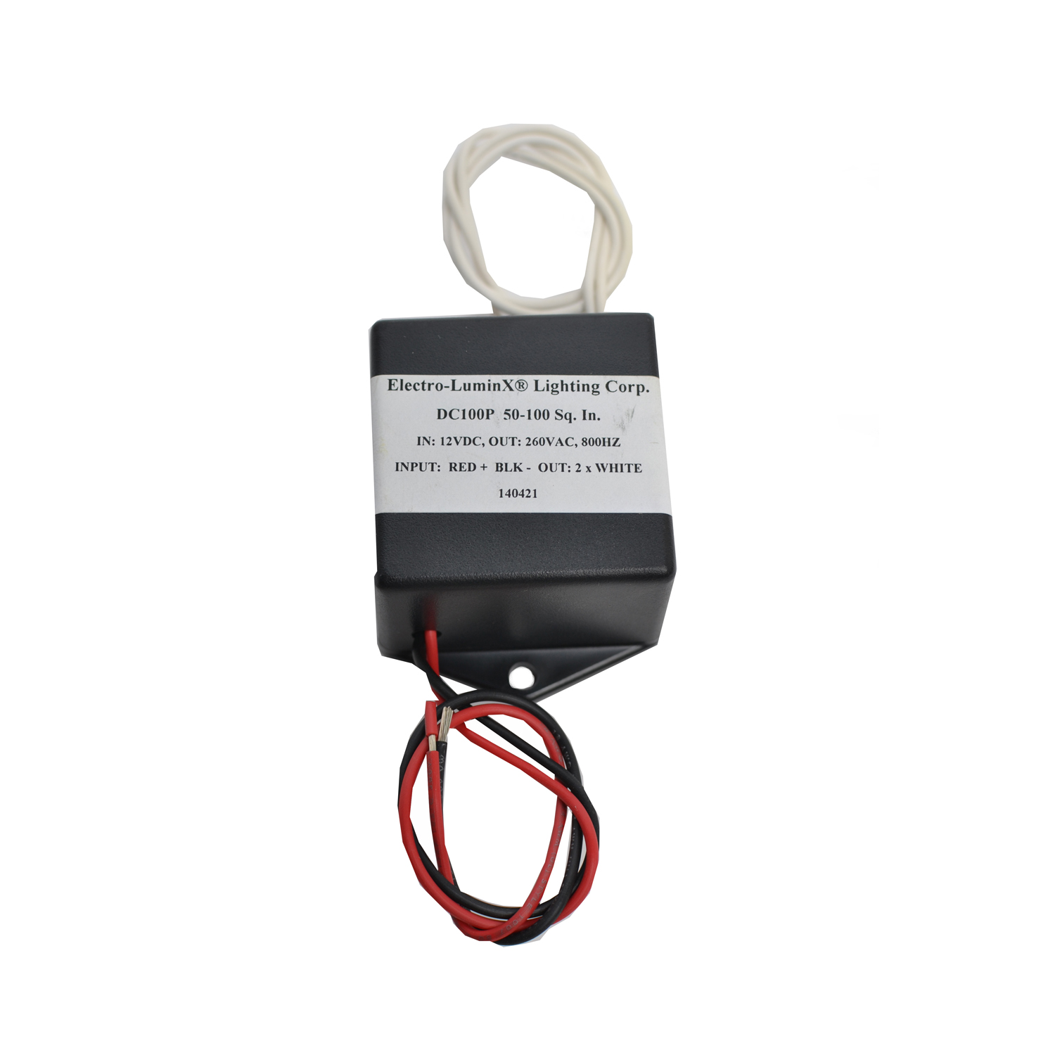 """Model DC-100P  Illuminated Area:45-80 sq. in. Input Current:~438 mA Input Voltage:12 VDC Output Voltage:200-300 VAC Dimensions:2.87"""" x 2"""" x 1.47"""" Weight:0.45 lbs (7.2 oz)"""