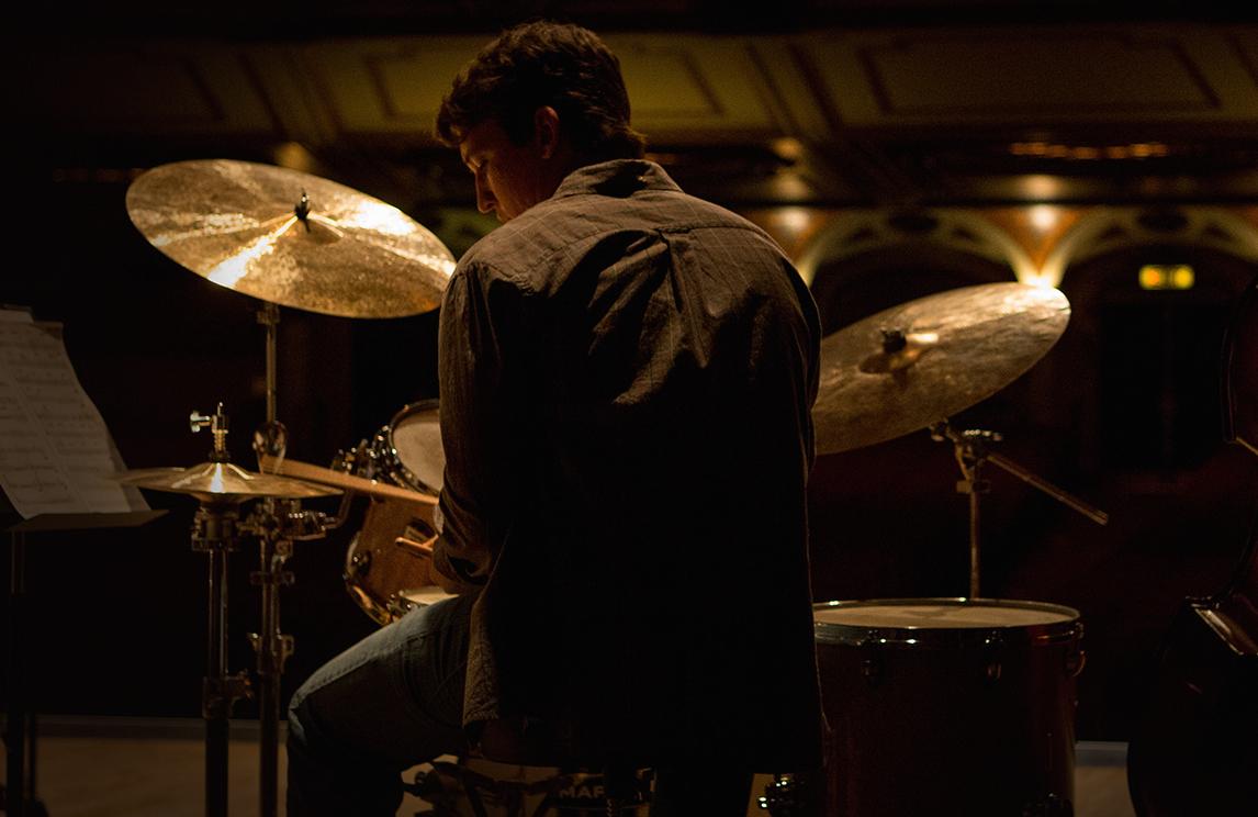Miles Teller as the ingenue drummer under the thumb of JK Simmons' brutal band leader in  Whiplash.