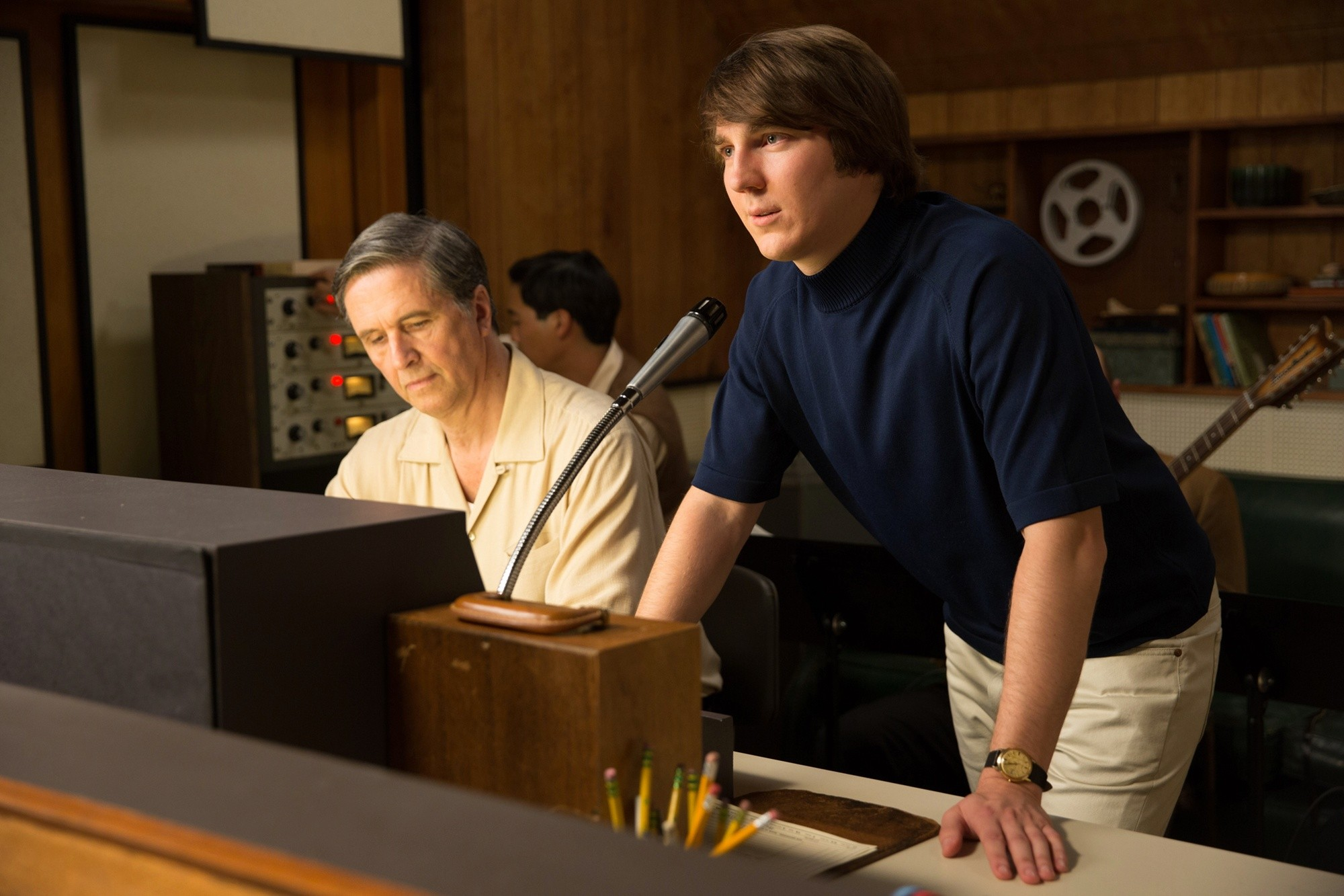 Paul Dano as the young Brian Wilson on the talkback mic in  Love & Mercy.
