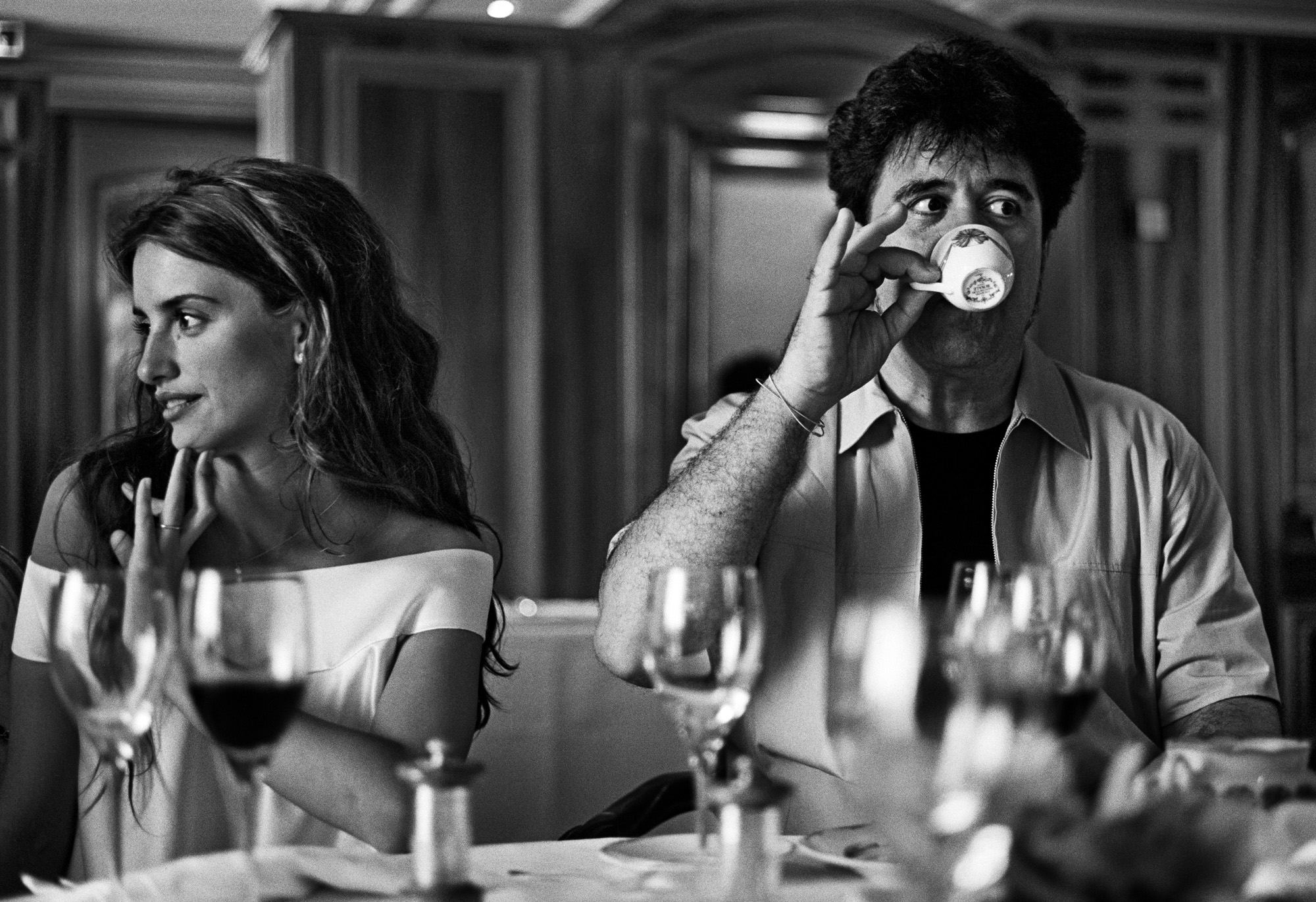 Penélope Cruz and Pedro Almodóvar sip tea during the 1999 Cannes Film Festival, where Pedro Almodóvar won the Palme for Best Director with...