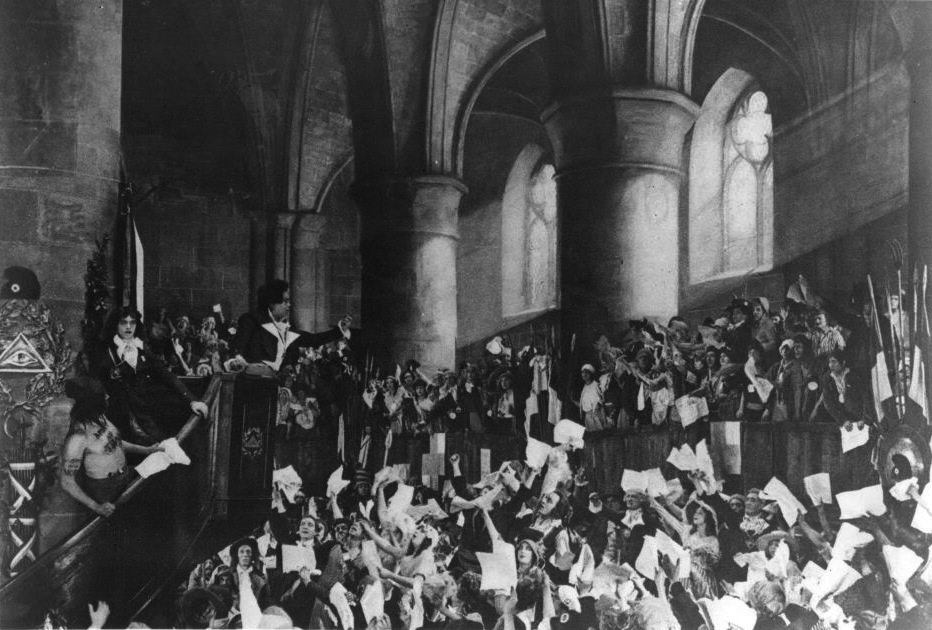 The unwashed masses of the French Revolution sing Claude Joseph Rouget de Lisle's anthem, 'La Marseillaise.'