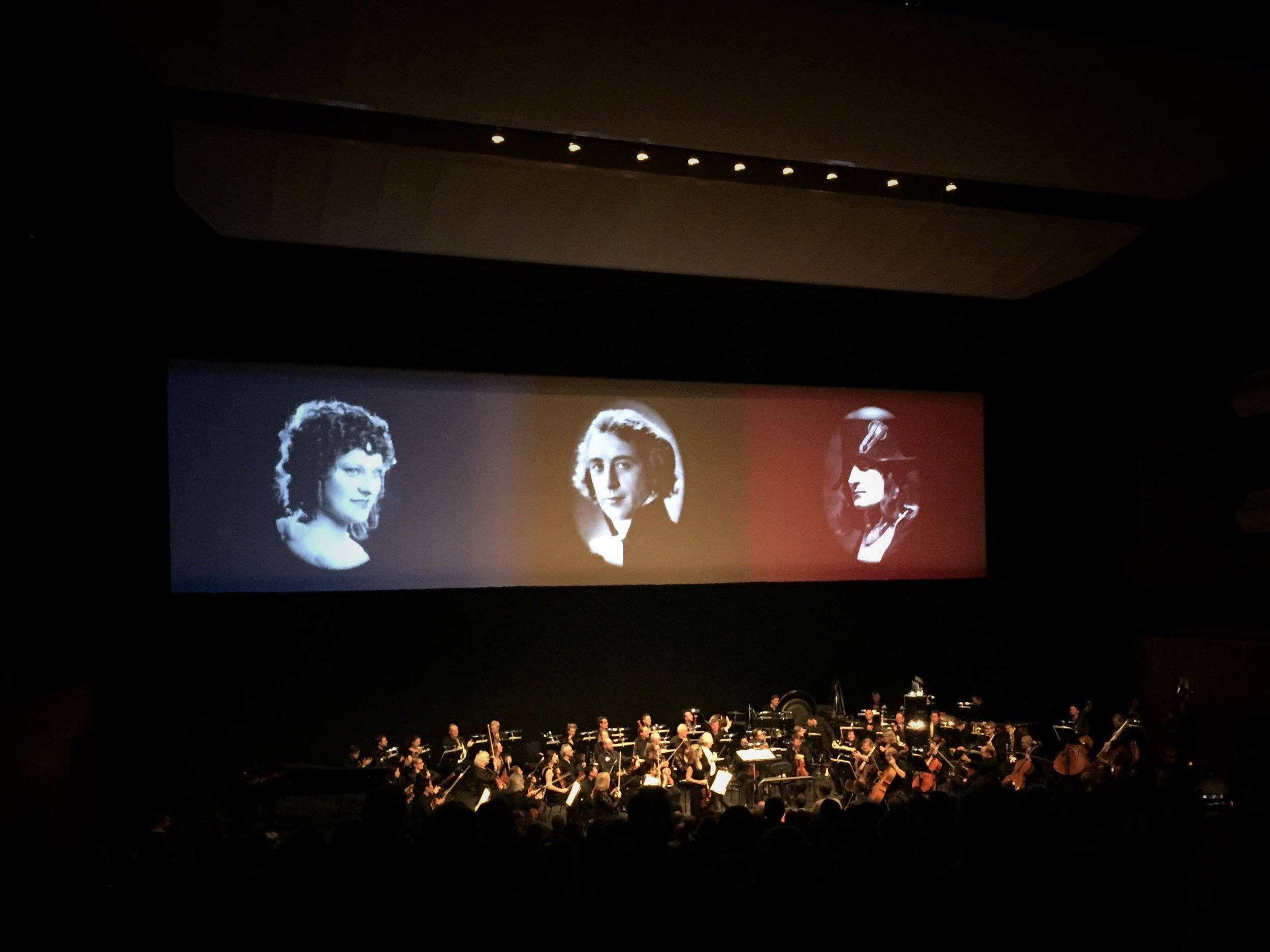 Carl Davis and the Philharmonia Orchestra celebrate the stars and director of  Napoléon at the Royal Festival Hall on 6th November 2016.